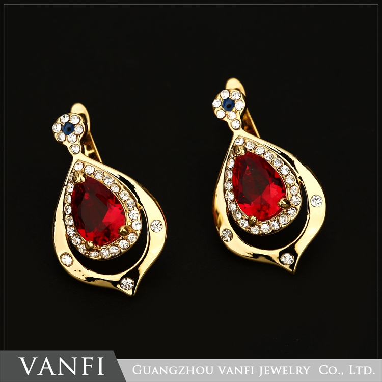 Newest design fashion gold plated rhinestone exquisite big ruby beautiful earring