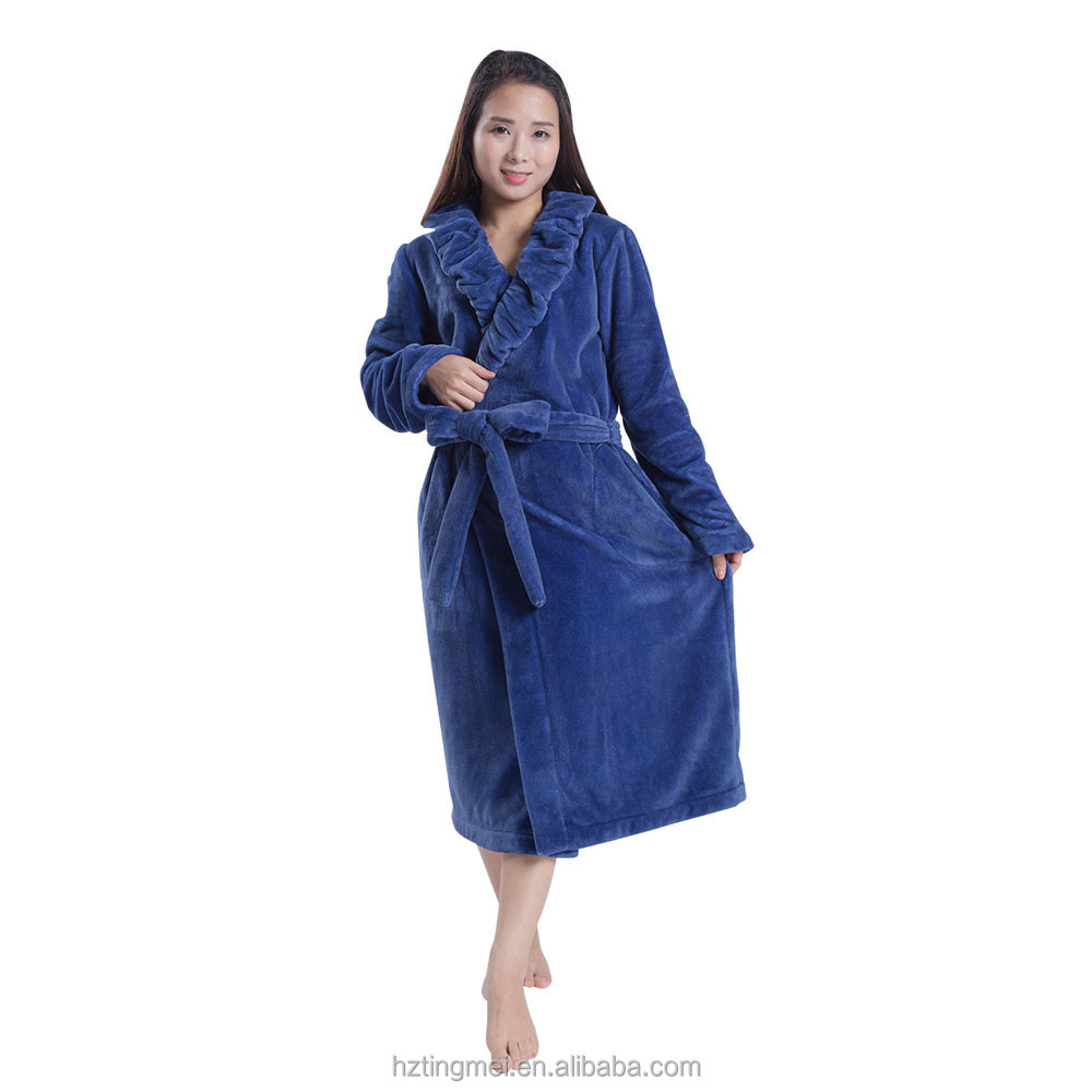 High Quality Personalized Fleece Blue Bathrobe For Women