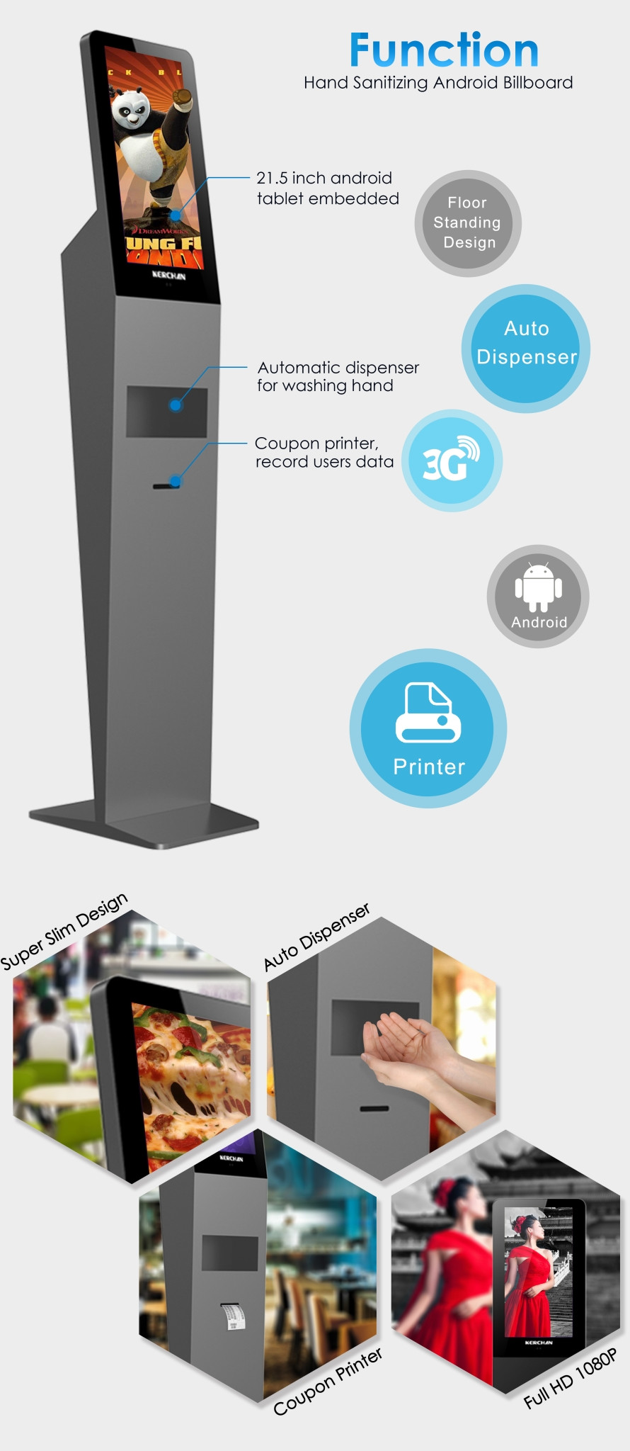 Cheap Floor standing android digital signage totem with auto hand dispenser