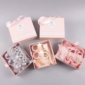 L0037 New baby princess gift box set for new baby socks shoes box 9 colors