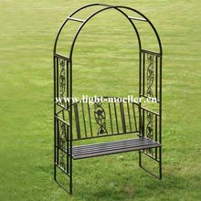 wrought iron garden arch & bench