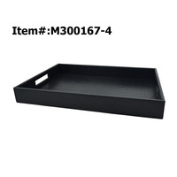Rectangular Black Leather Restaurant Serving Tray