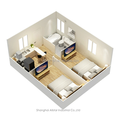 2 bedroom low cost prefab flat pack house