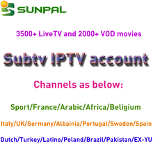 subtv lifetime with free iptv account and server software supported Full European Channels IT DE UK