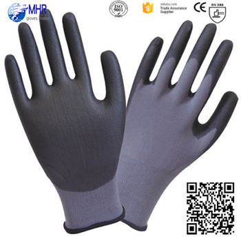 MHR 13G Polyester Nylon PU palm coated nylon gardening gloves, pu work gloves