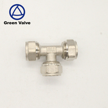 Green Guten-Top PEX-AL-PEX lead free Brass Compression tee Fittings for water pipe