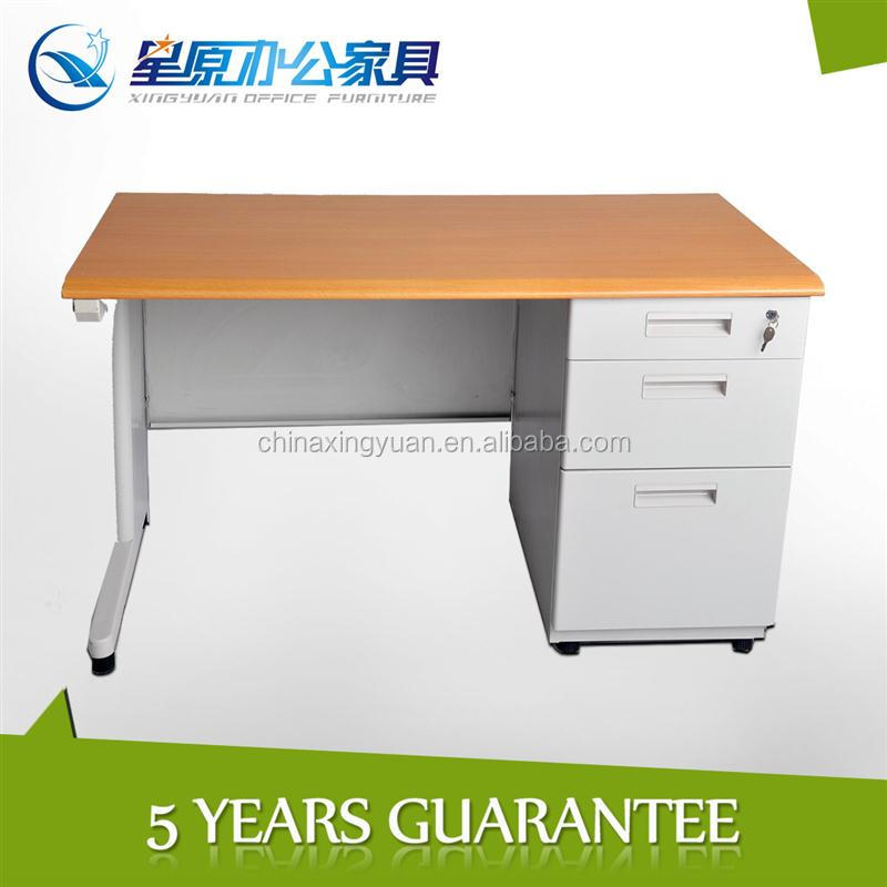 factory supply office table with wooden top,metal trestle
