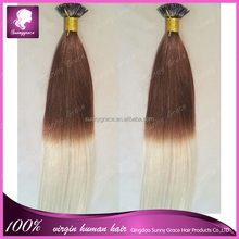 I-tip hair,100% raw virgin hairextension natrual straight wave ombre i tip hair extension for cheap