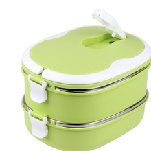 Stainless steel+PP thermal insulated lunch boxes square shape lunch box thermo food container