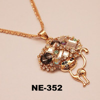 2014 New style flower cheap hot wholesales charm animal cat necklace spring Fashion pearl jewelry wholesale