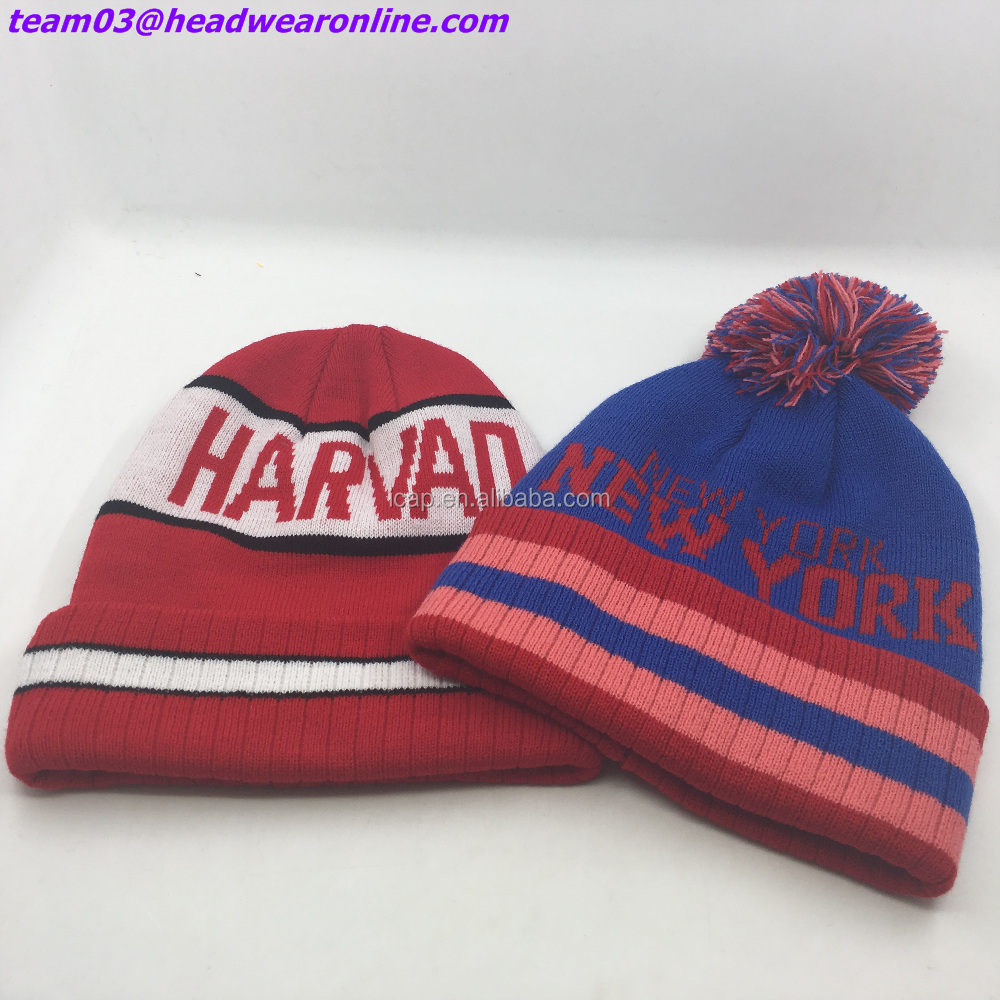 Wholesale Newest jacquard weave pattern logo High quality beanie cap headwear Acrylic knit hat