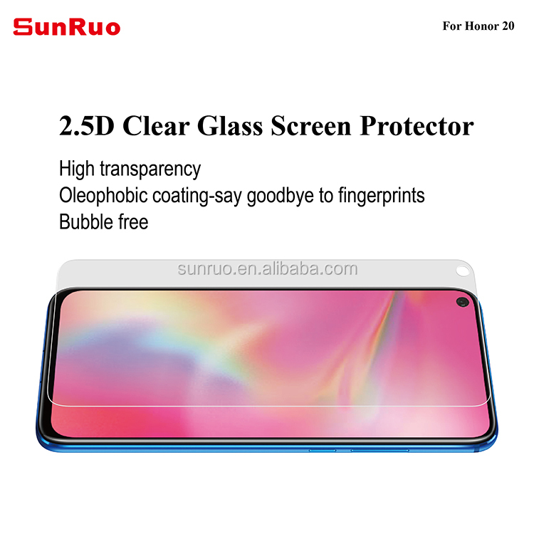 Ultra Clear Bubble Free 9H Hardness 0.26mm Tempered Glass Screen Protector for Huawei Honor 20