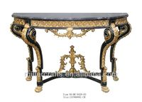 Vintage French Marble top golden leaf and black finish Console Table