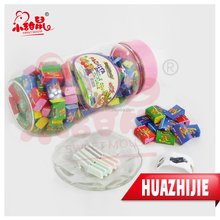 608201610Milk bottle bubble gum with tattoo sweet chews candy
