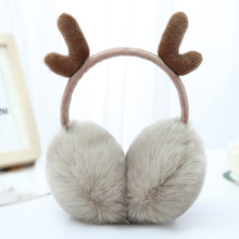 Warm earmuffs cute winter plush antlers retractable earmuffs ladies earmuffs