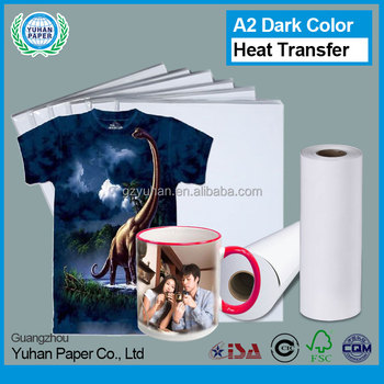Wholesale a2/a4 dark fabric glossy transfer printing pape heat sublimation waterproof t-shirt heat transfer paper