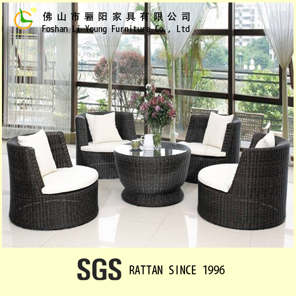 Selling Well Round Shape Outdoor Rattan Stacking Furniture Set-black For 4 person , Leisure Living Room Rattan Sofa Set