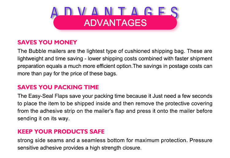 Lightweight shockproof waterproof courier bags bubble poly mailer