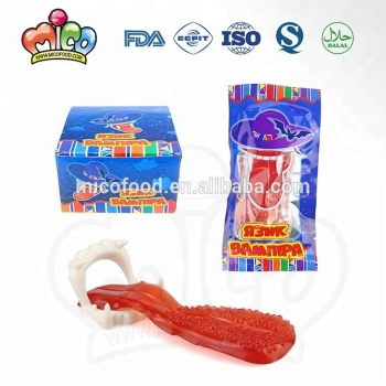 Tongue shaped gummy candy with tooth toy