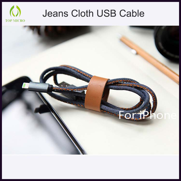 Fashion OEM Quick Charge Jeans Jacket Data Line foriPhone/Android USB Charger Cable