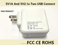 Phone and tablet adapter 5V1A and 5V2.1a two USB connect