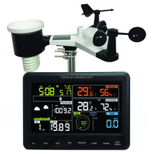 Auto DST color display wireless weather station with indoor and outdoor sensor