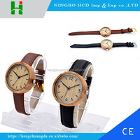 2016 CE RoHS Smart Watch Leather Watch Strap Japan Movt Quartz Bamboo Wood Watch