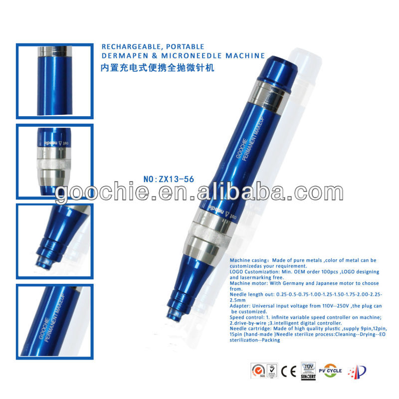 rechargeable electric microneedle derma roller pen
