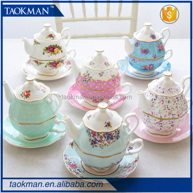 royal tea for one teapot set with different design bone china