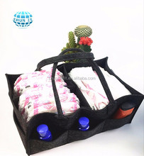 Oem Multi-pockets Foldable Felt Baby Diaper Storage Caddy Multi Pockets Nursery Portable Organizer Storage Basket Bag
