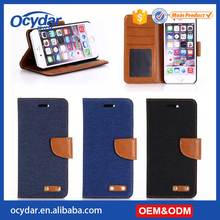 2017 New Genuine Leather Oxford Cowboy Style Flip Wallet Phone Case for iPhone 7
