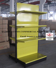 Double side advertising supermarket produce metal display shelves