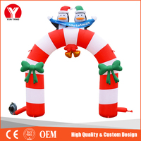 Hot candy cane inflatable arch, outdoor Christmas arches