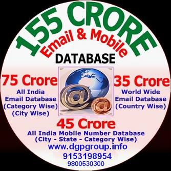 155 Crore Email Id & Mobile Number Database 4 DVD Pack & Post New Free classifieds List. 9153198954,http://www.dgpgroup.nt8.in/