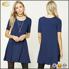 Ecoach ladies casual dresses pictures new model knit French Terry fashion ladies casual dresses 2017