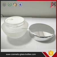 Wholesale Cheap Frosted Glass Jar Unique Shape 50g Cosmetic Jar With Sliver Lid