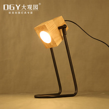 Novelty Iron base small portable bed lamp wooden table lights for home office and hotel decorative