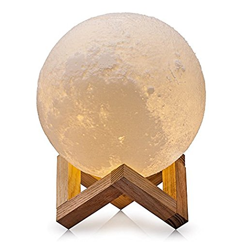SINOHAMM Moon Light 3D Printing Night Light Dimmable Rechargeable, Warm White & Cool White& Soft White, 12CM