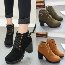 DL10033B 2017 autumn winter thick-heel lady ankle boots women winter warm ankle boots shoes