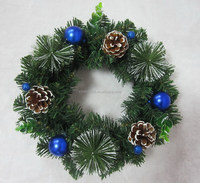 Wholesale new design 10 inch artificial christmas wreath/garland with pine cone