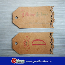 qingdao factory made customized logo kraft recycle paper garment tag garment label