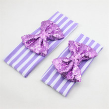 24 Colors Mom and Me Large Sequin Bow Headband Set Hair Accessories Mommy and me Big Bow Headband Cotton Turban Headband