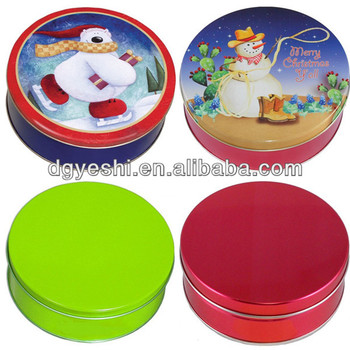 Round candy tin box for christmas