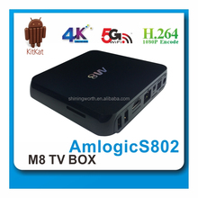 2014 best selling tv box android media player xbmc Amlogic S802 4k Mali 450 Octa Core GPU Quad Core Android TV Box