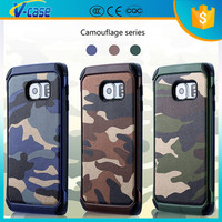 2015 New arrival camouflage color hybrid cell phone cover case for samsung galaxy S6 edge