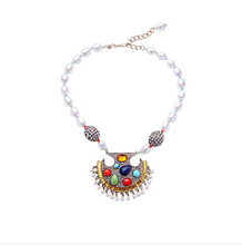 Beaded Chain Made Necklace Colorful Crystal Imitation Pearl Pendant Necklaces