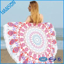 1500mm 100 cotton colorful aztec pattern fouta round beach towel with floral tassels