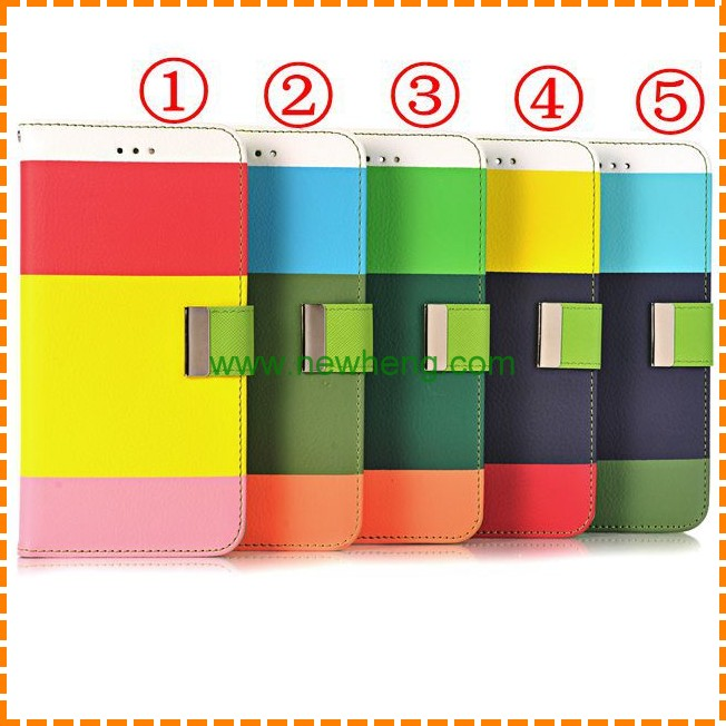 Hot selling Contrast Colorful Stand Flip Wallet PU Leather Case for iphone 7 7 plus