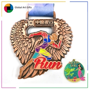 China manufacture custom cheap wholesale running sport finisher metal marathon medal awards and trophies with ribbon and logo