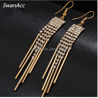 New Gold Color Long Crystal Tassel Dangle Earrings for Women Bar Wedding Drop Earring Fashion Jewelry Gifts